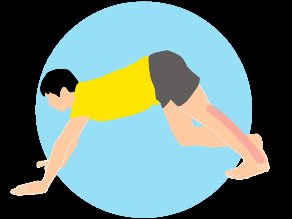 床で行うふくらはぎ(下腿三頭筋)のストレッチ