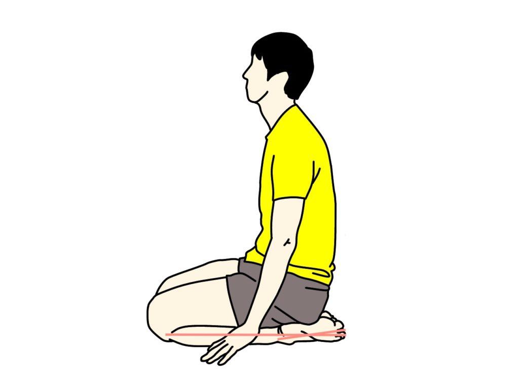 正座の姿勢から行う足の甲〜スネ(前脛骨筋)のストレッチ