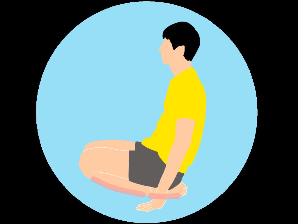 正座の姿勢から足首を伸ばす足の甲〜スネ(前脛骨筋)のストレッチ