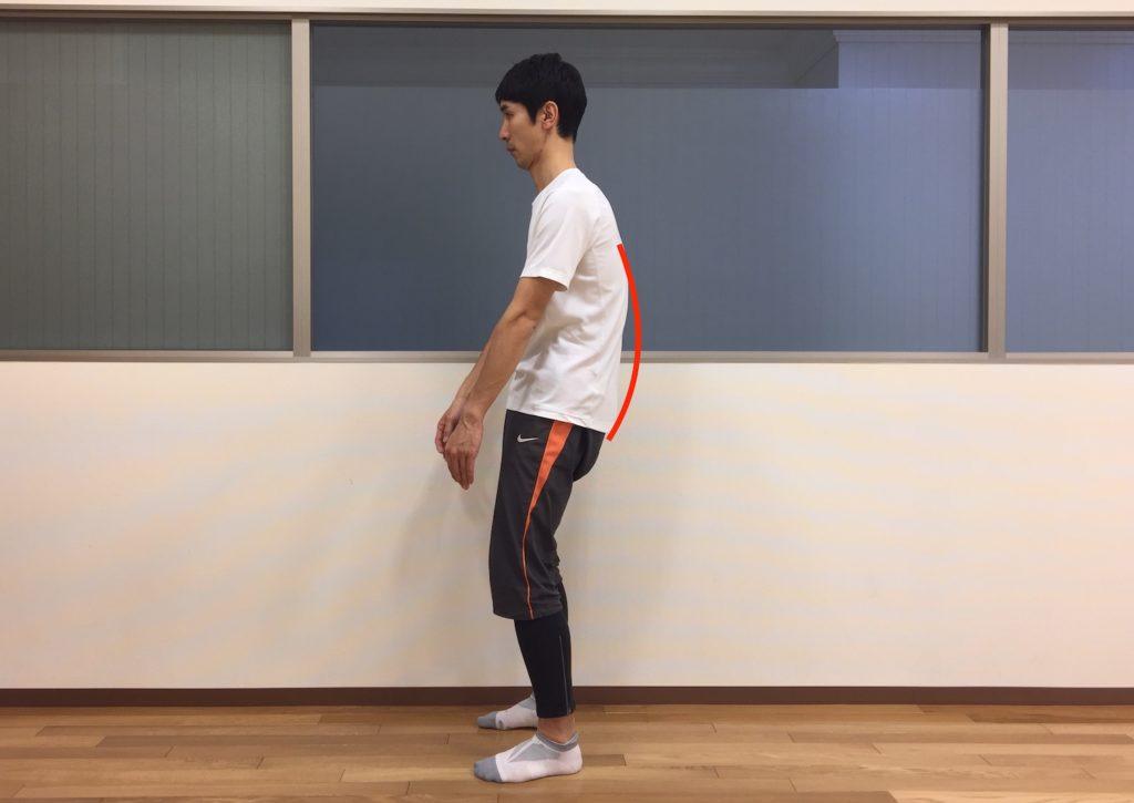 立位姿勢で骨盤の後傾