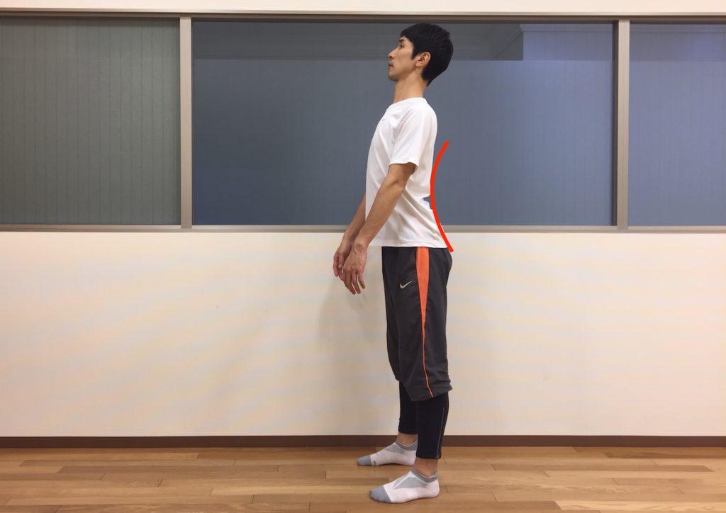 立位姿勢で骨盤の前傾