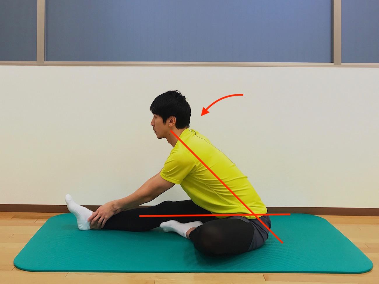 床に座った姿勢で行うハムストリングスのストレッチの方法