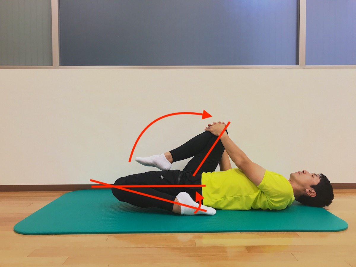 床に座った姿勢で行う大腿四頭筋のストレッチ