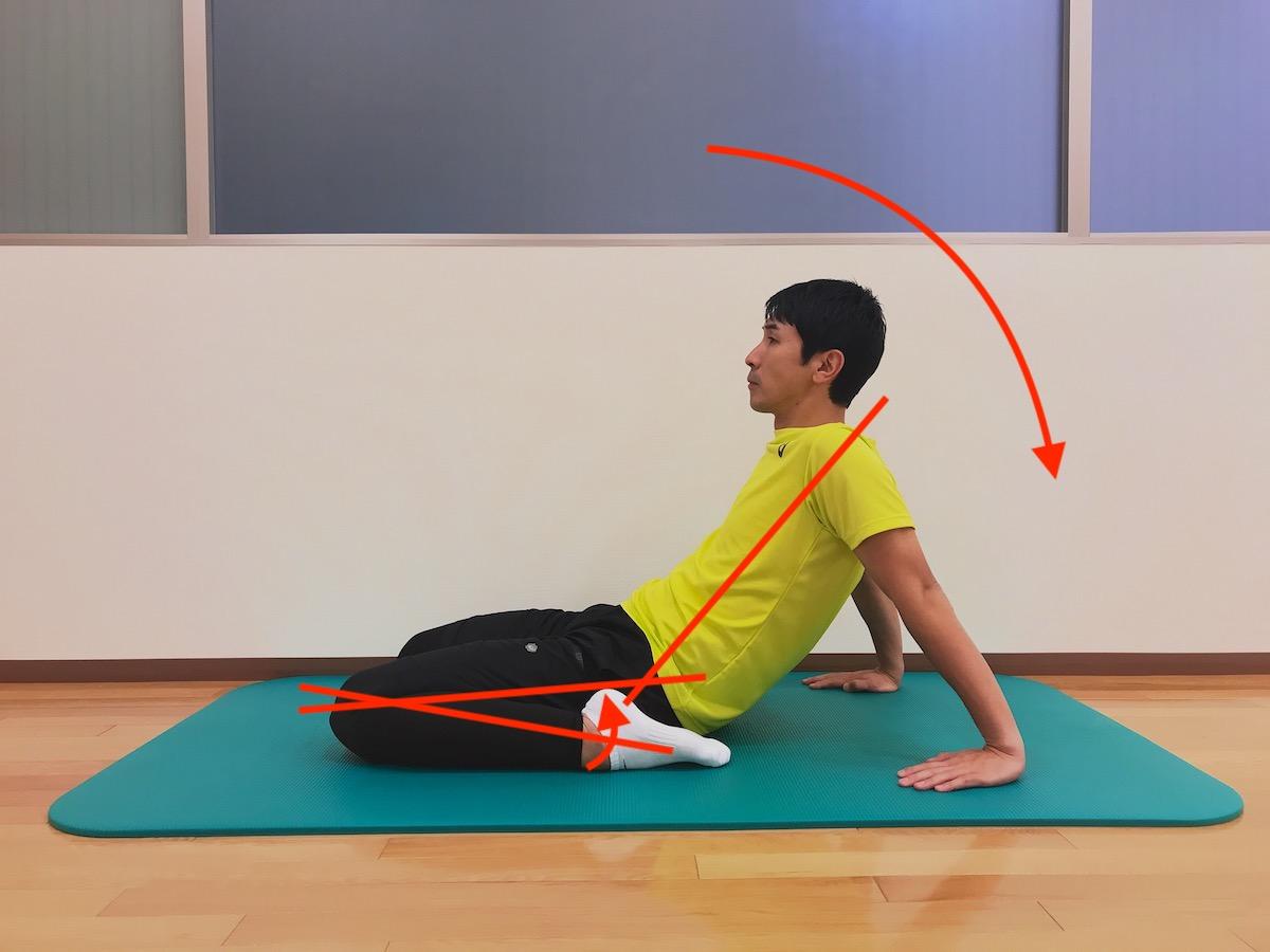 両ひざを曲げて行う大腿四頭筋のストレッチ