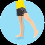 脚を後ろの伸ばす動作(股関節の伸展)