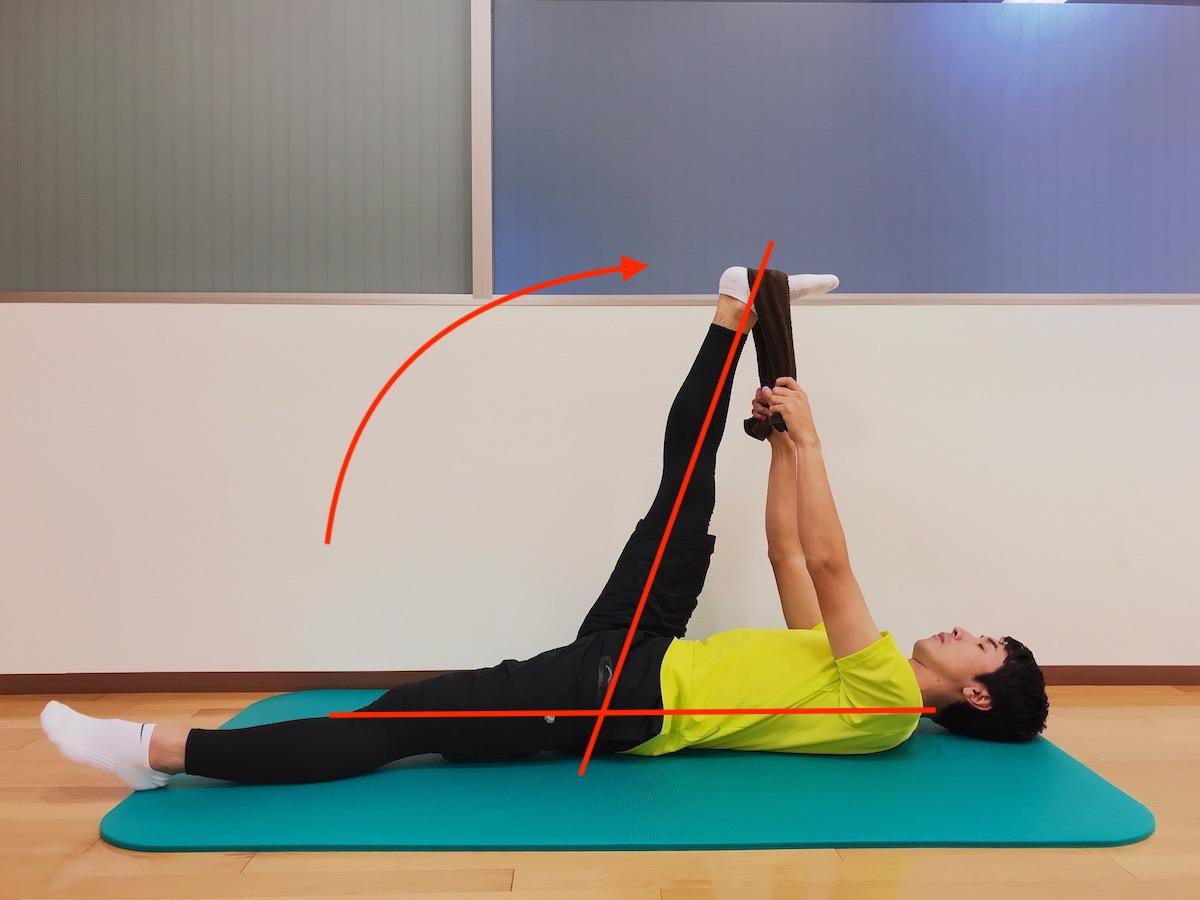 前後開脚(スピリッツ)の前脚の柔軟性を高めるためのストレッチ