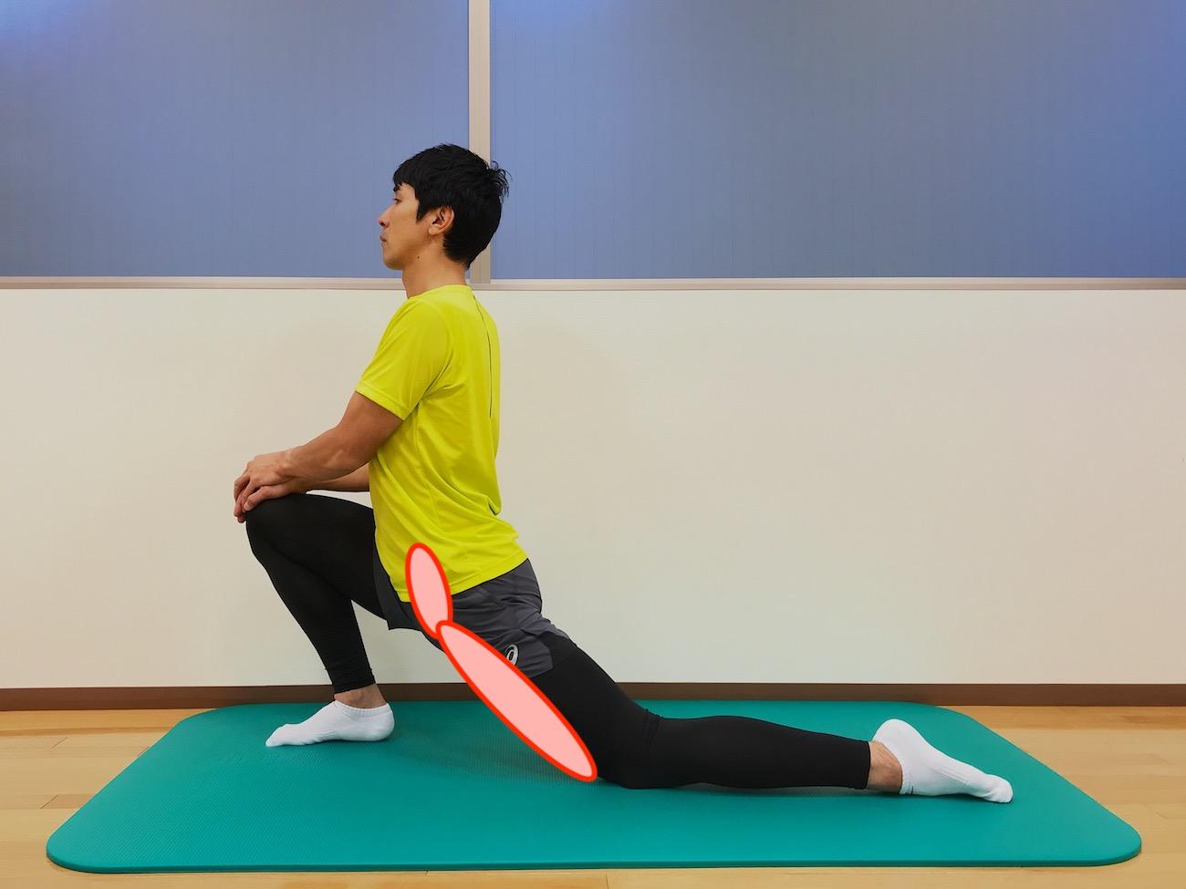 もも前〜ソケイ部の筋肉(大腿直筋・腸腰筋)のストレッチ