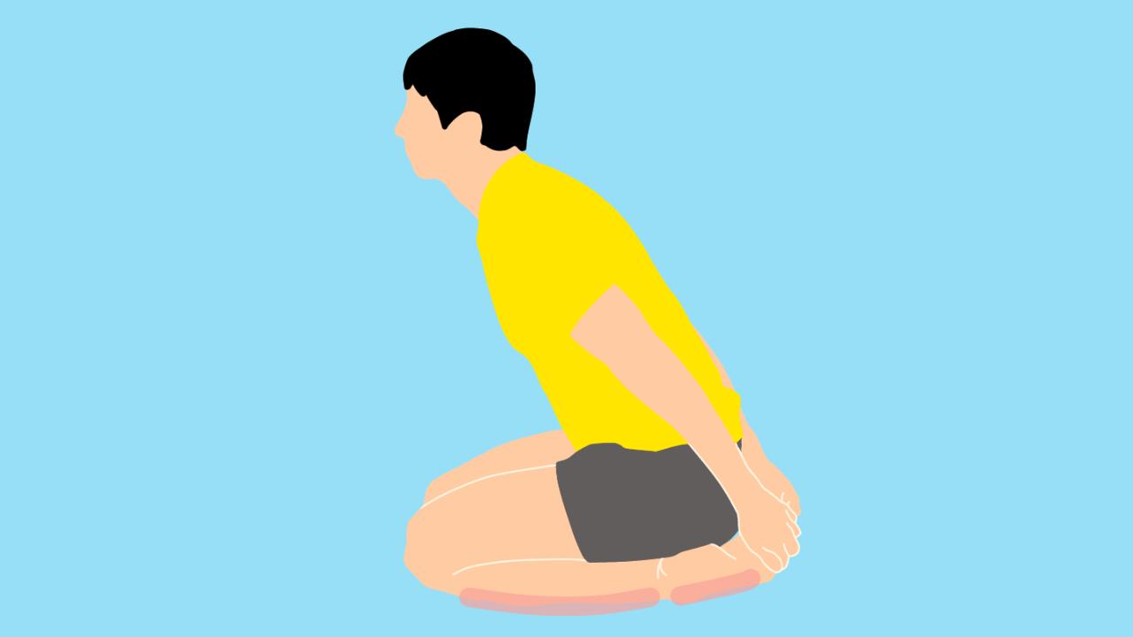 正座の姿勢で足の甲を床から浮かせる足の甲〜スネのストレッチ