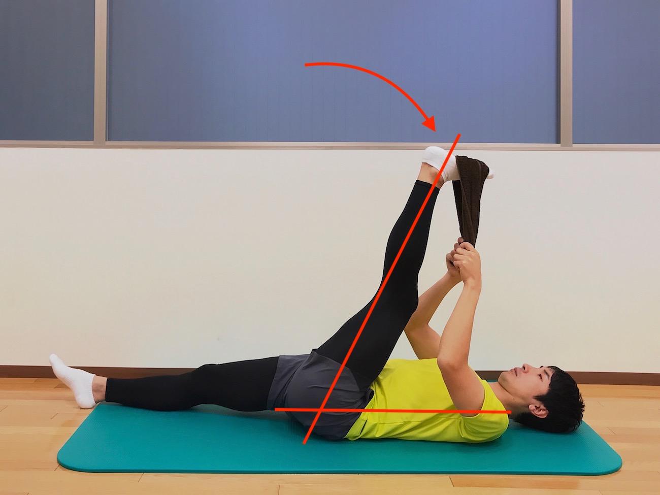 仰向けの姿勢でタオルを使って行うもも裏の筋肉(ハムストリングス)のストレッチの方法