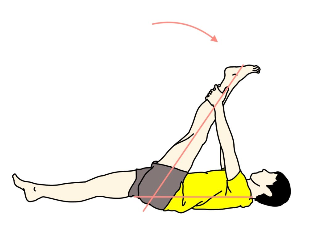 仰向けの姿勢で行うもも裏(ハムストリングス)のストレッチの方法