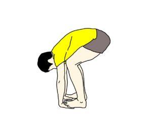 立った姿勢で行う左右両方のもも裏の筋肉(ハムストリングス)のストレッチの方法