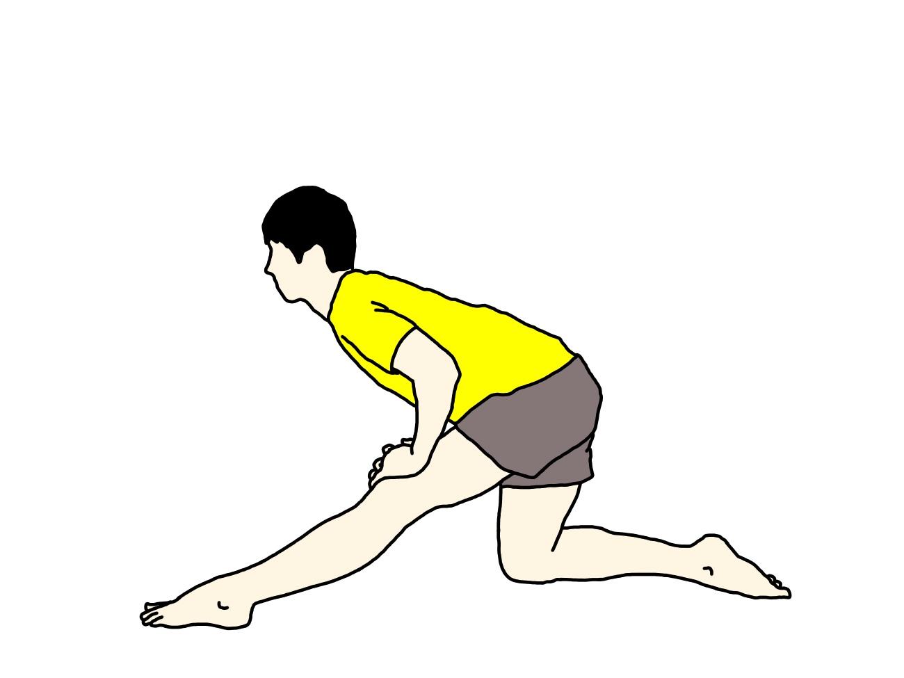 片膝立ち姿勢で行うもも裏の筋肉(ハムストリングス)のストレッチの方法