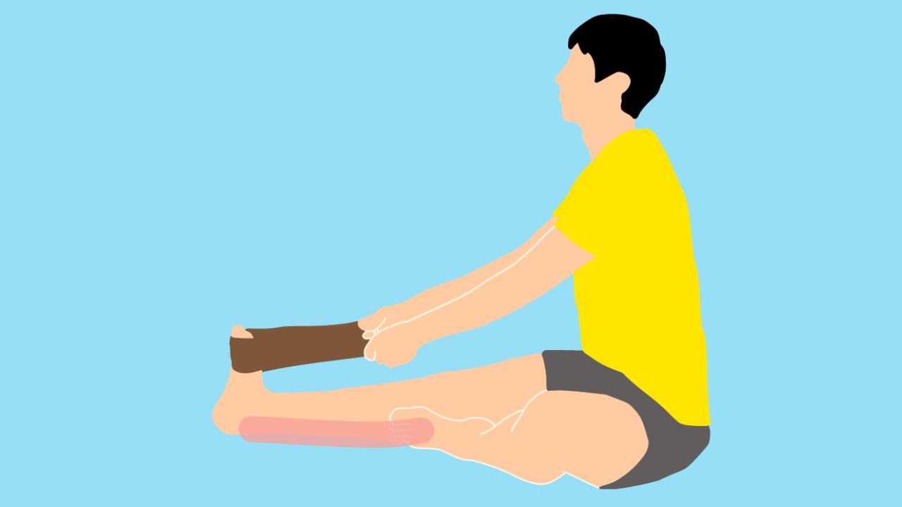 タオルを使って行うふくらはぎ(下腿三頭筋)のストレッチの方法