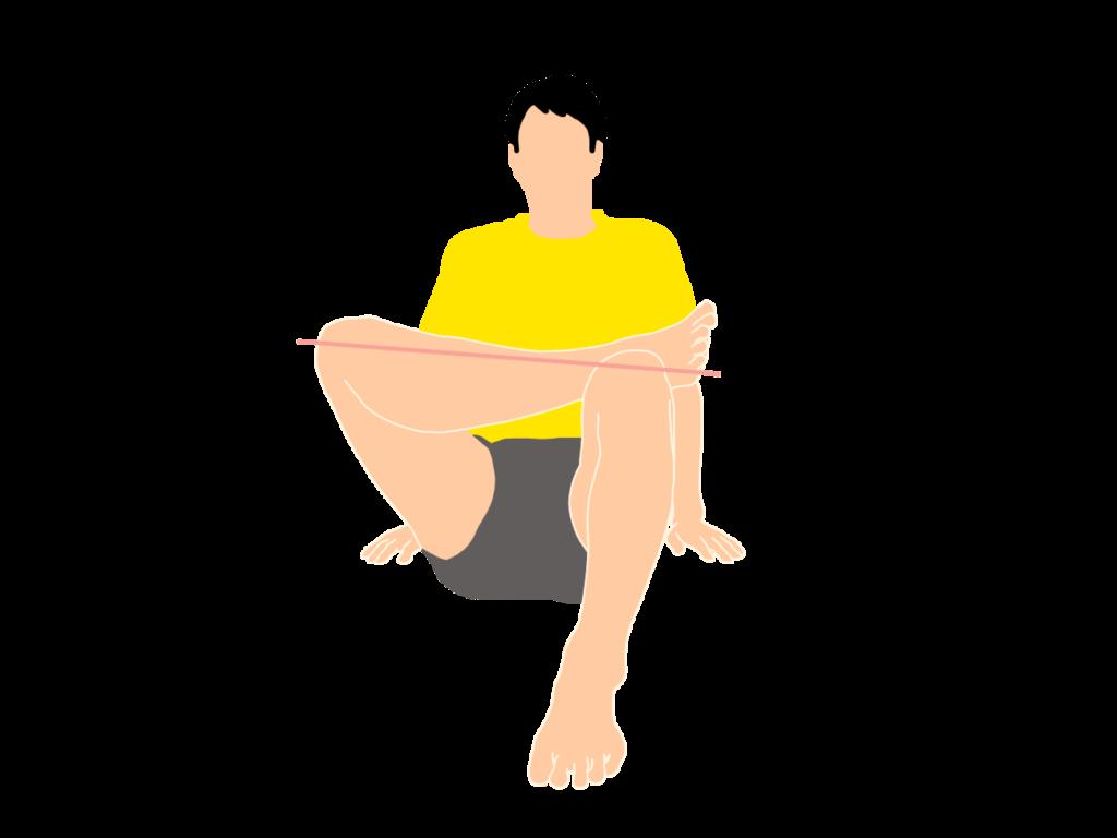お尻のストレッチの動作が柔らかくなっていくイメージ