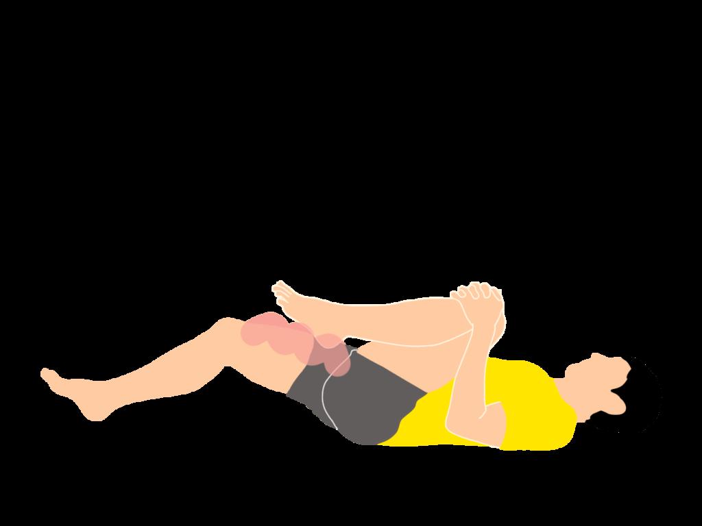 左脚を抱え込んたときに右脚が浮いてくる場合は、右脚の股関節を曲げる筋肉が硬い