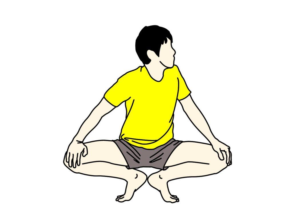 股割り姿勢で行う内転筋のストレッチ