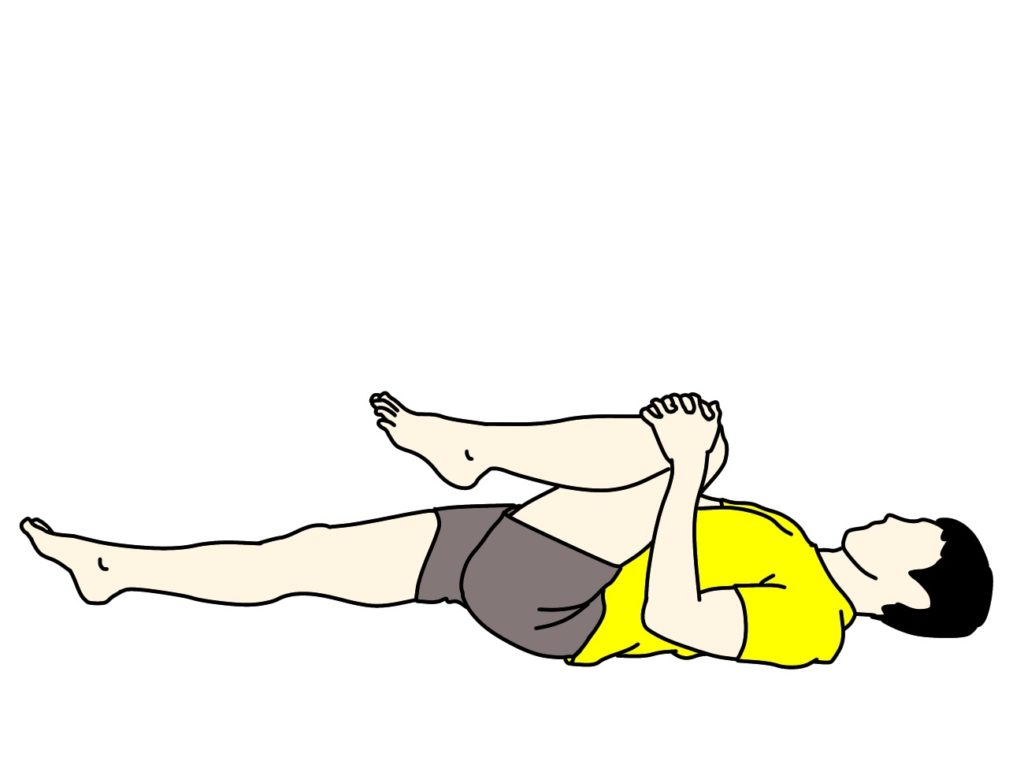 仰向けの姿勢で行うもも裏(ハムストリングス)とお尻(大殿筋)の筋肉のストレッチ