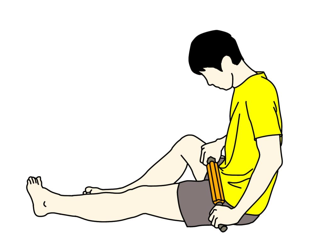 フォームローラー(マッサージローラー)でもも前(大腿四頭筋)をほぐす方法