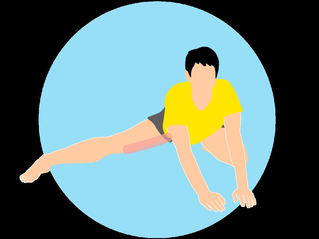 膝立ち姿勢で行う内もも(内転筋)のストレッチ