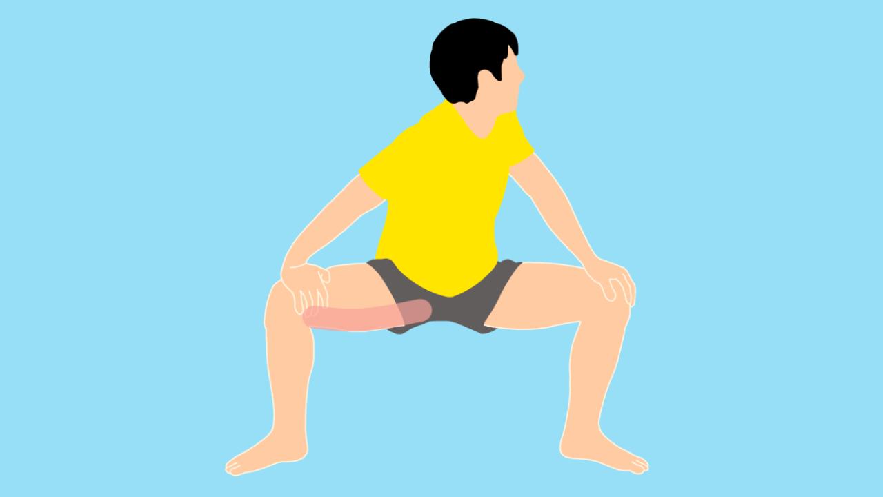 股割り姿勢で行う内もも(内転筋)のストレッチ