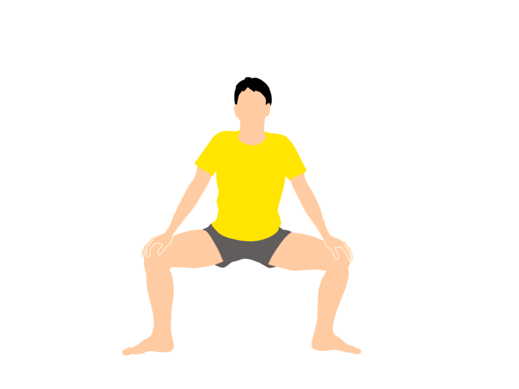 内転筋のストレッチの動作が柔らかくなっていくイメージ