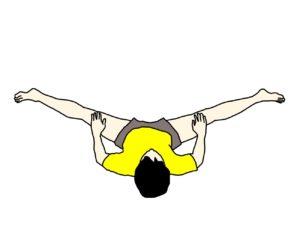 壁を使って行う内ももの筋肉(内転筋群)のストレッチの方法(開脚ストレッチ)