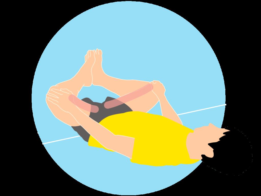 壁を使って行う内もも(内転筋)のストレッチの方法(膝を曲げた姿勢で)