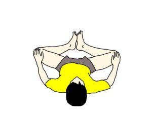 壁を使って行う内ももの筋肉(内転筋群)のストレッチの方法(膝を曲げた姿勢で)