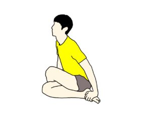 膝を体の中央で組んだ姿勢で行うお尻(殿筋群)の筋肉のストレッチの方法