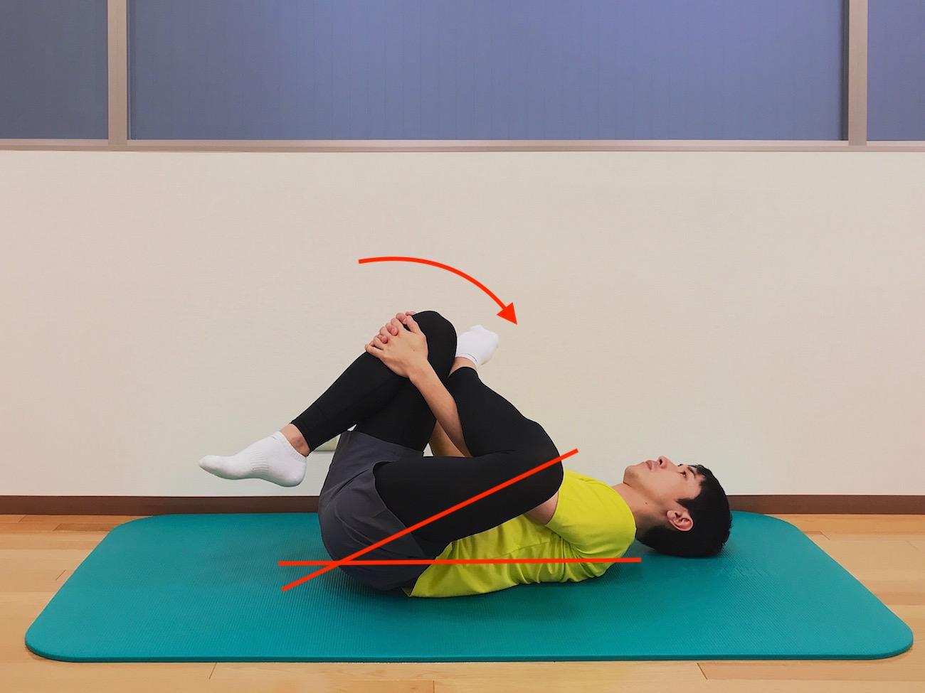 仰向けの姿勢で行うお尻(大殿筋)の筋肉のストレッチの方法