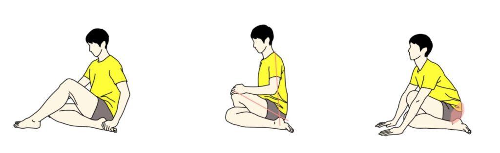 膝を体の真ん中で重ねるお尻のストレッチ