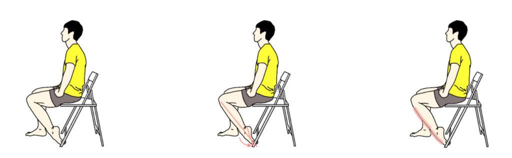 椅子に座って行うスネのストレッチ