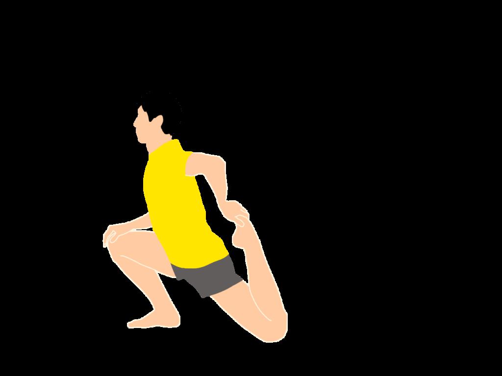 腸腰筋と大腿直筋のストレッチの動作が柔らかくなっていくイメージ