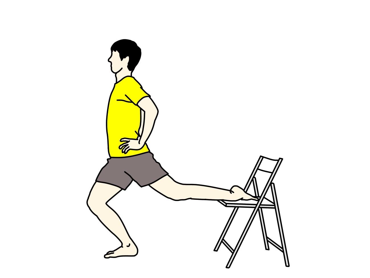 椅子を使って行う骨盤前〜もも前(腸腰筋・大腿直筋)のストレッチ