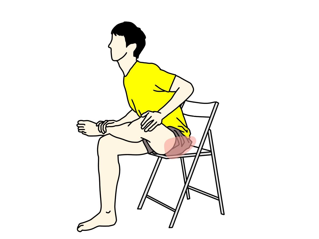 椅子に座って行うお尻(大殿筋)のストレッチで伸びる場所