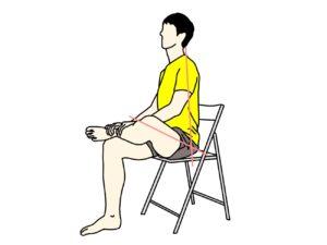 椅子に座って行うお尻(大殿筋)の筋肉のストレッチの方法1