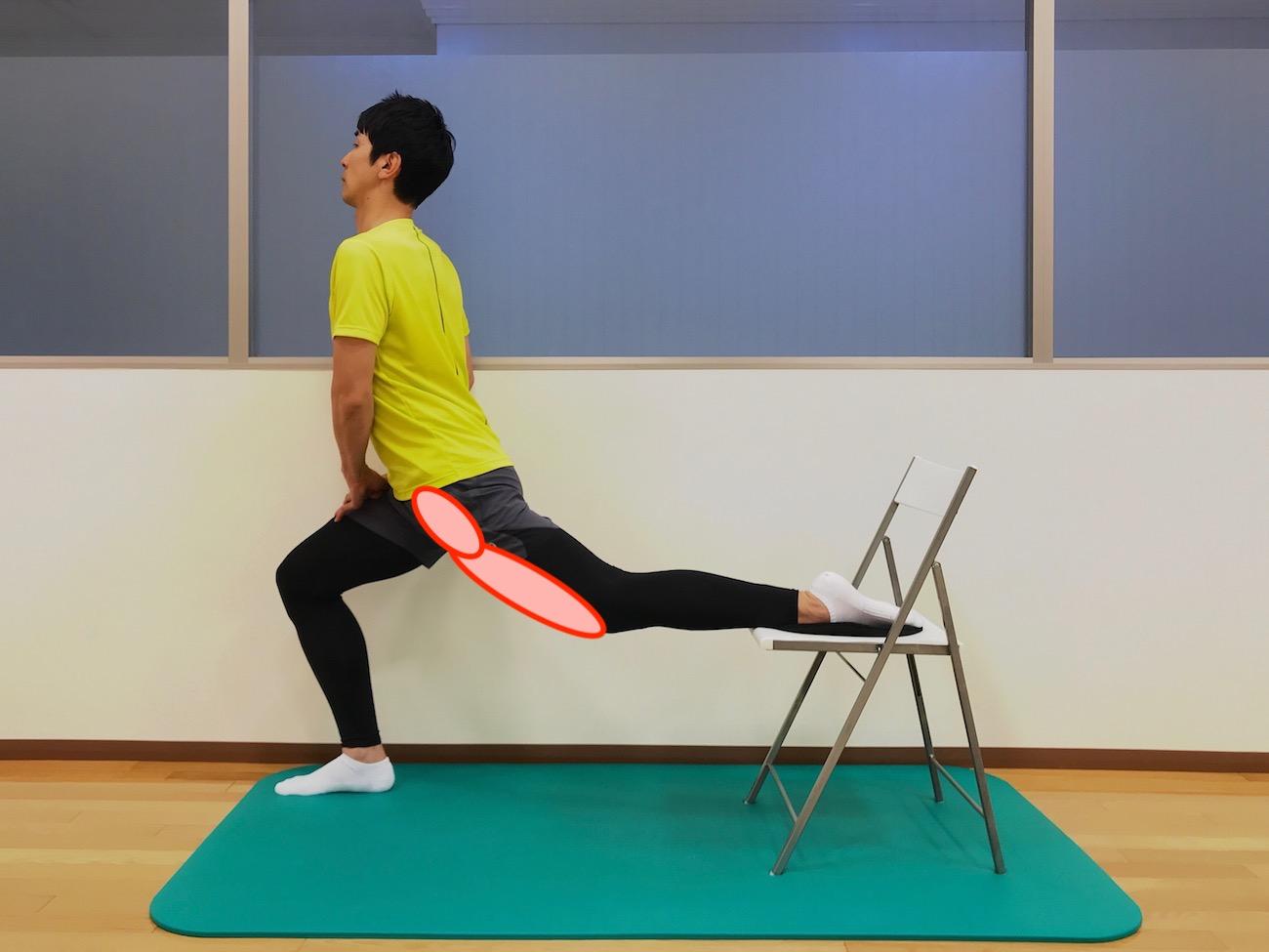 もも前〜骨盤前の筋肉(腸腰筋・大腿直筋)のストレッチで伸びる場所