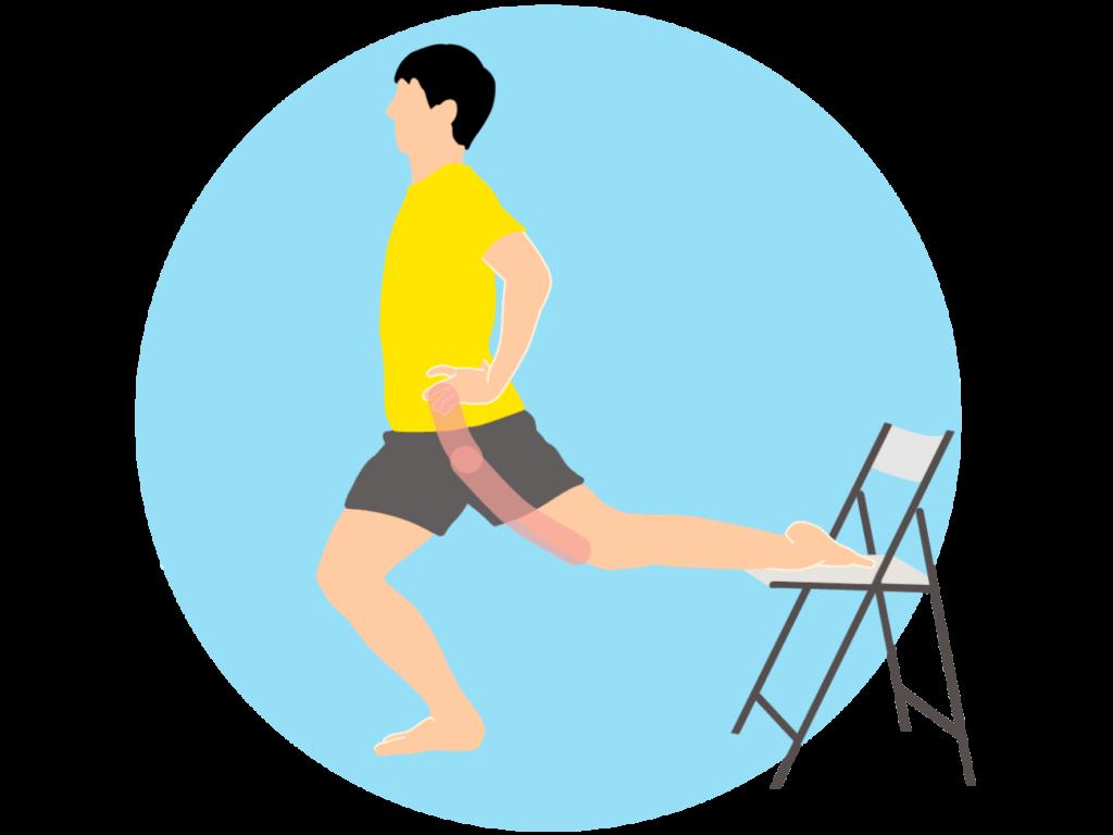 椅子を使って行う骨盤前〜太ももの前(腸腰筋・大腿直筋)のストレッチ