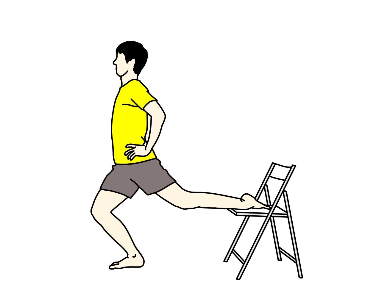 椅子を使って行う腸腰筋・大腿直筋のストレッチ