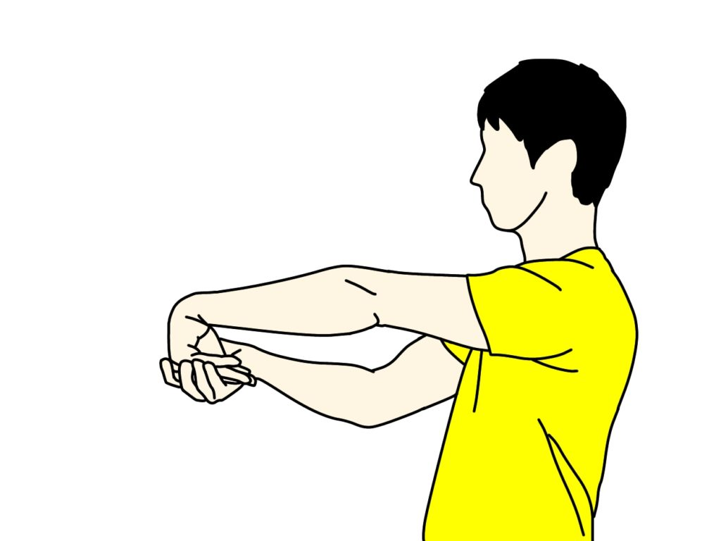 手の甲〜腕の筋肉(前腕伸筋群)のストレッチの方法