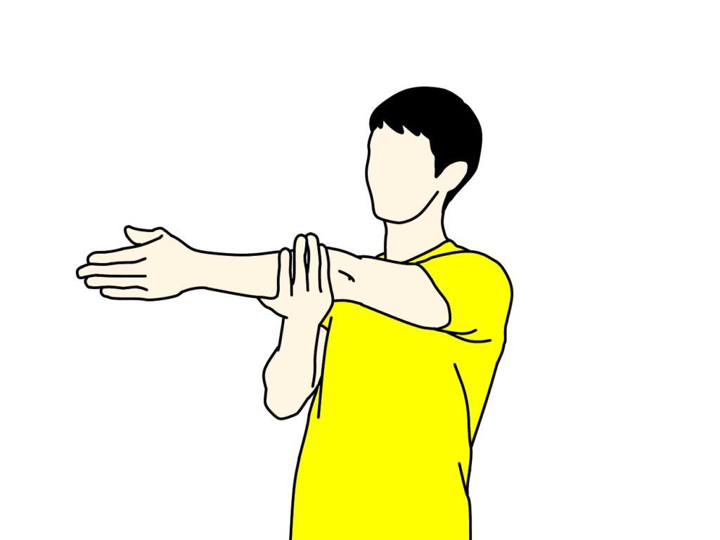 肩の後ろの筋肉(三角筋後部)のストレッチの方法