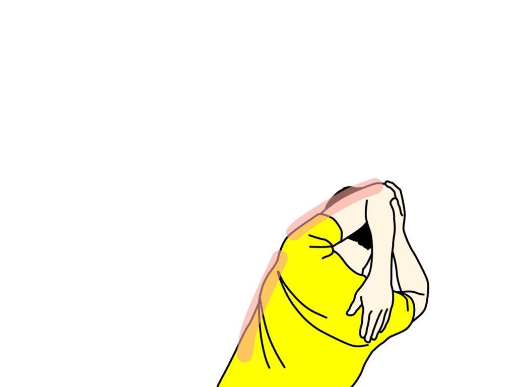 二の腕の筋肉(上腕三頭筋)のストレッチで伸びる場所