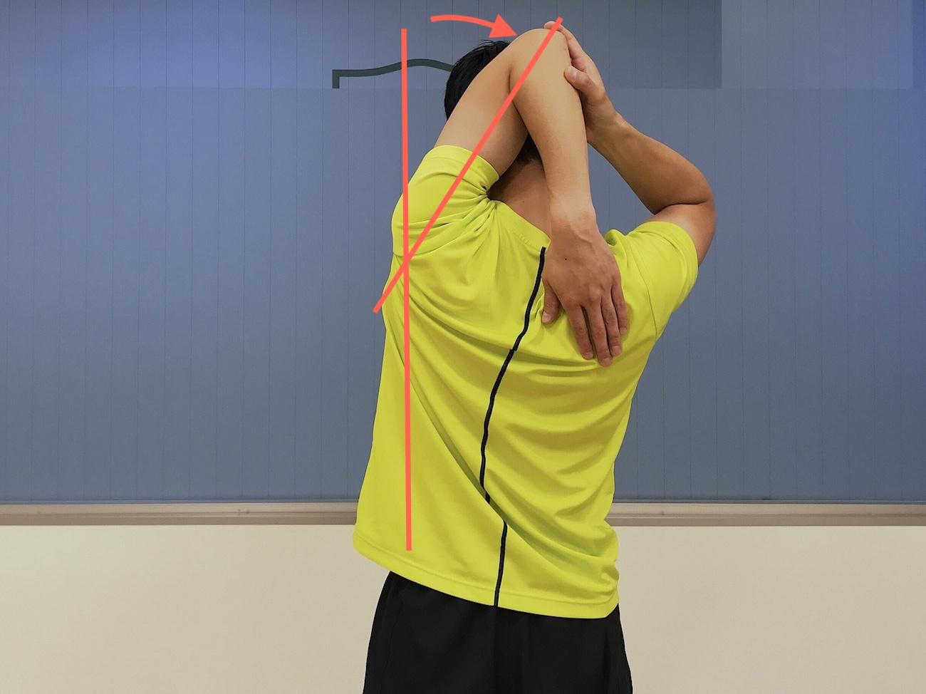 二の腕の筋肉(上腕三頭筋)のストレッチの方法
