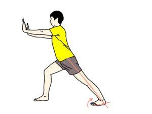 壁を使ったふくらはぎ(下腿三頭筋)のストレッチの方法