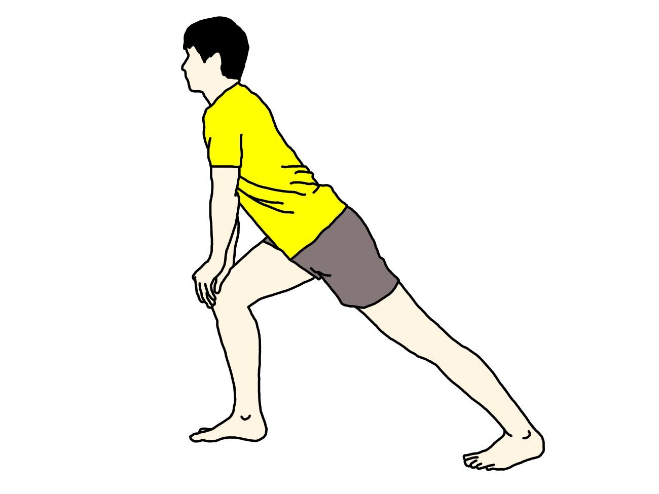 ふくらはぎ〜アキレス腱(下腿三頭筋)のストレッチのイラスト