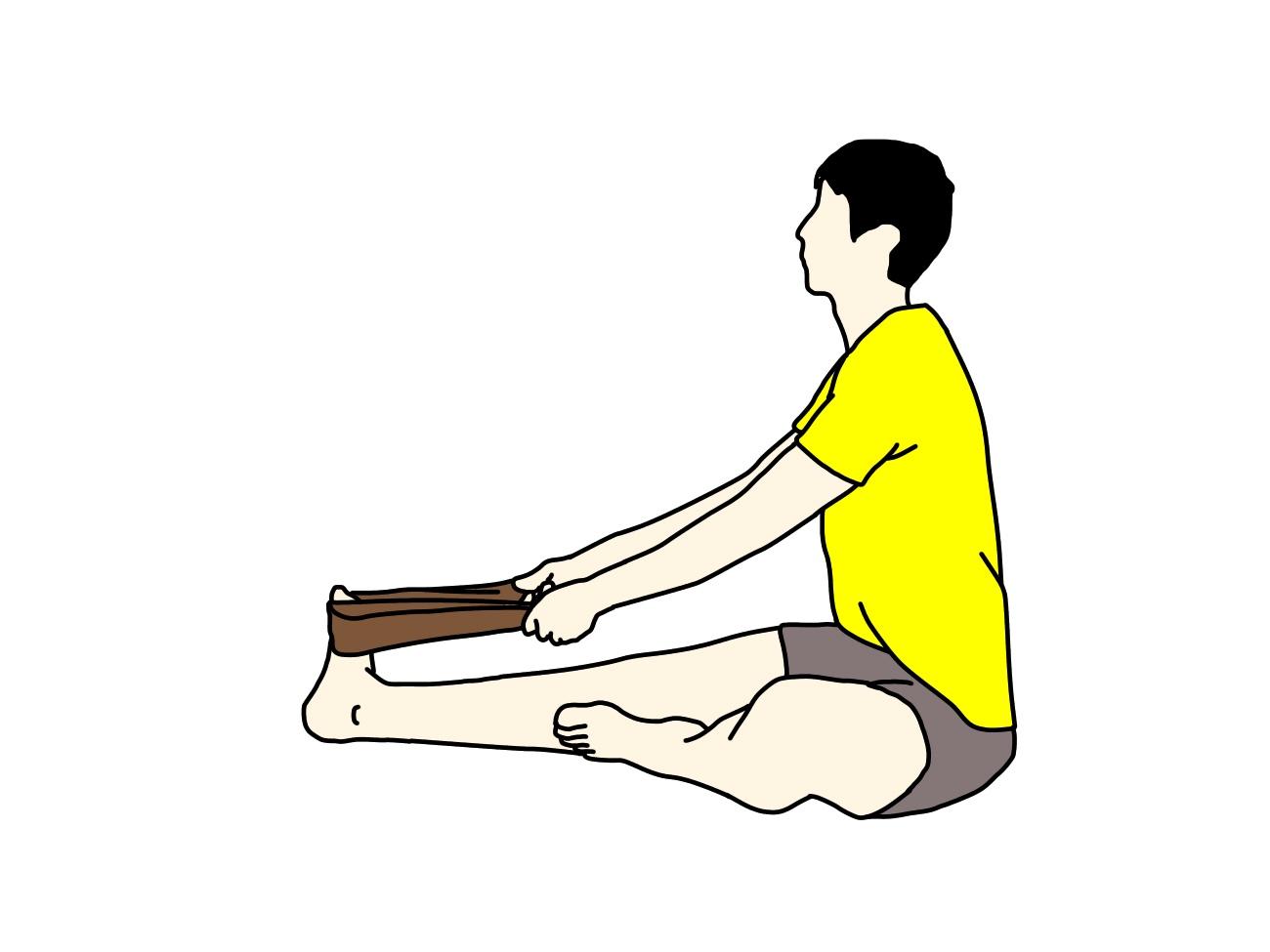 タオルを使ったふくらはぎ〜アキレス腱(下腿三頭筋)のストレッチのイラスト