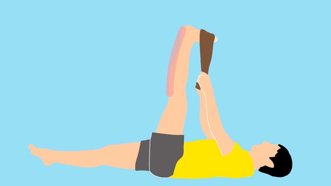 タオルを使ったふくらはぎ(下腿三頭筋)ともも裏(ハムストリングス)のストレッチの方法
