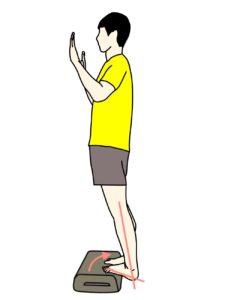 階段などの段差を使ったのふくらはぎ(下腿三頭筋)のストレッチの方法