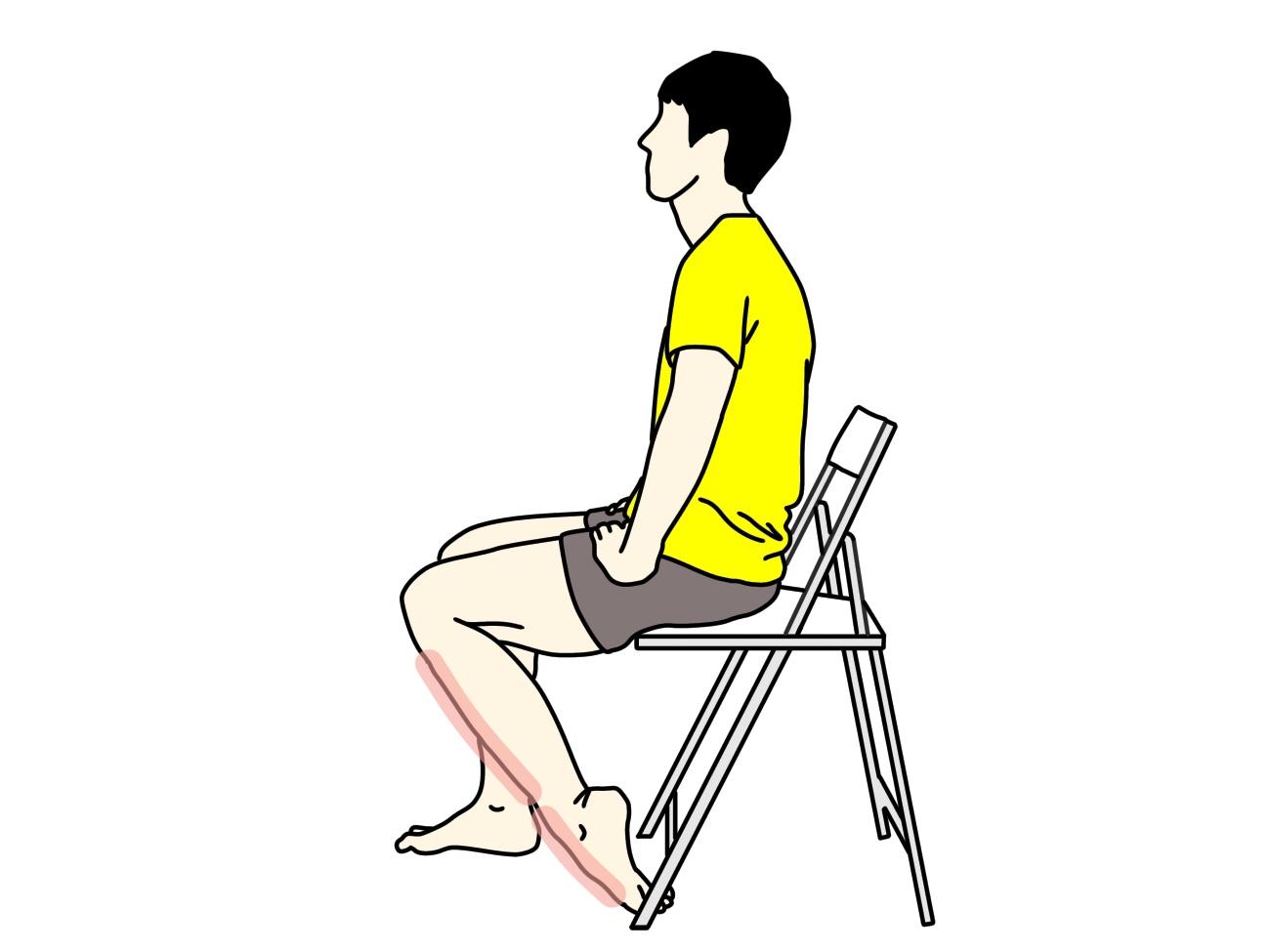 足の甲〜スネの筋肉(前脛骨筋)のストレッチで伸びる場所