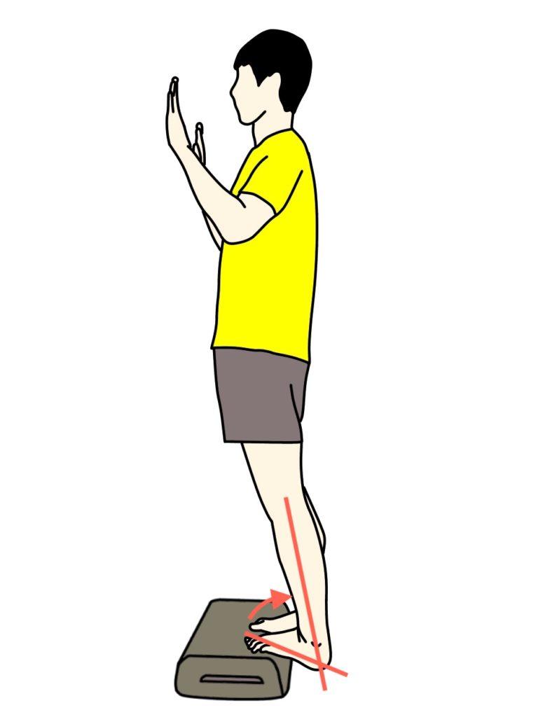 階段などの段差を使ったのふくらはぎの筋肉(下腿三頭筋)のストレッチの方法